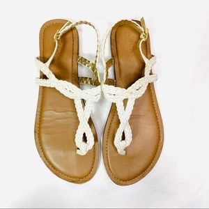 Merona Sandals White Brown Faux Leather Braid